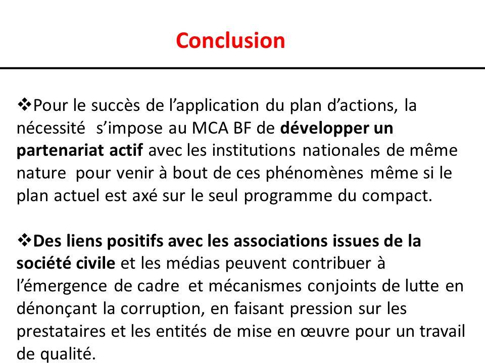 Conclusion Pour le succès de lapplication du plan dactions, la nécessité simpose au MCA BF de développer un partenariat actif avec les institutions nationales de même nature pour venir à bout de ces phénomènes même si le plan actuel est axé sur le seul programme du compact.