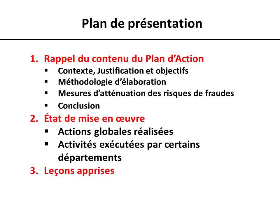 Plan de présentation 1.Rappel du contenu du Plan dAction Contexte, Justification et objectifs Méthodologie délaboration Mesures datténuation des risqu