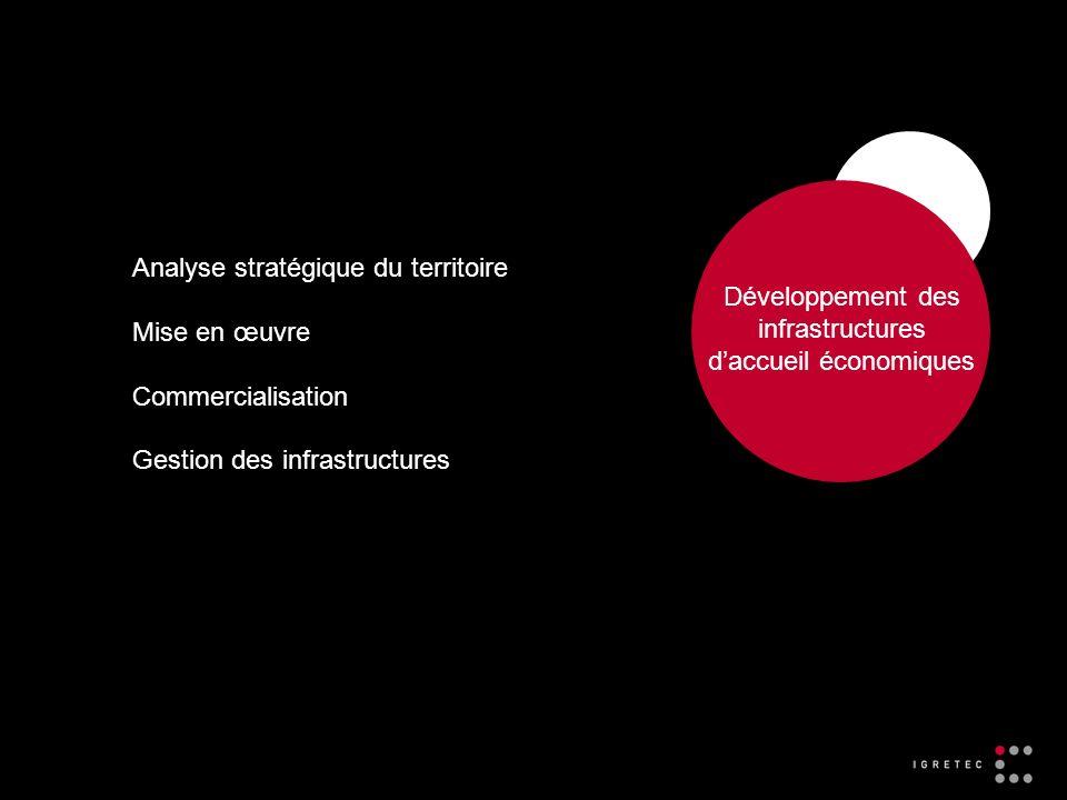 Développement des infrastructures daccueil économiques Analyse stratégique du territoire Mise en œuvre Commercialisation Gestion des infrastructures