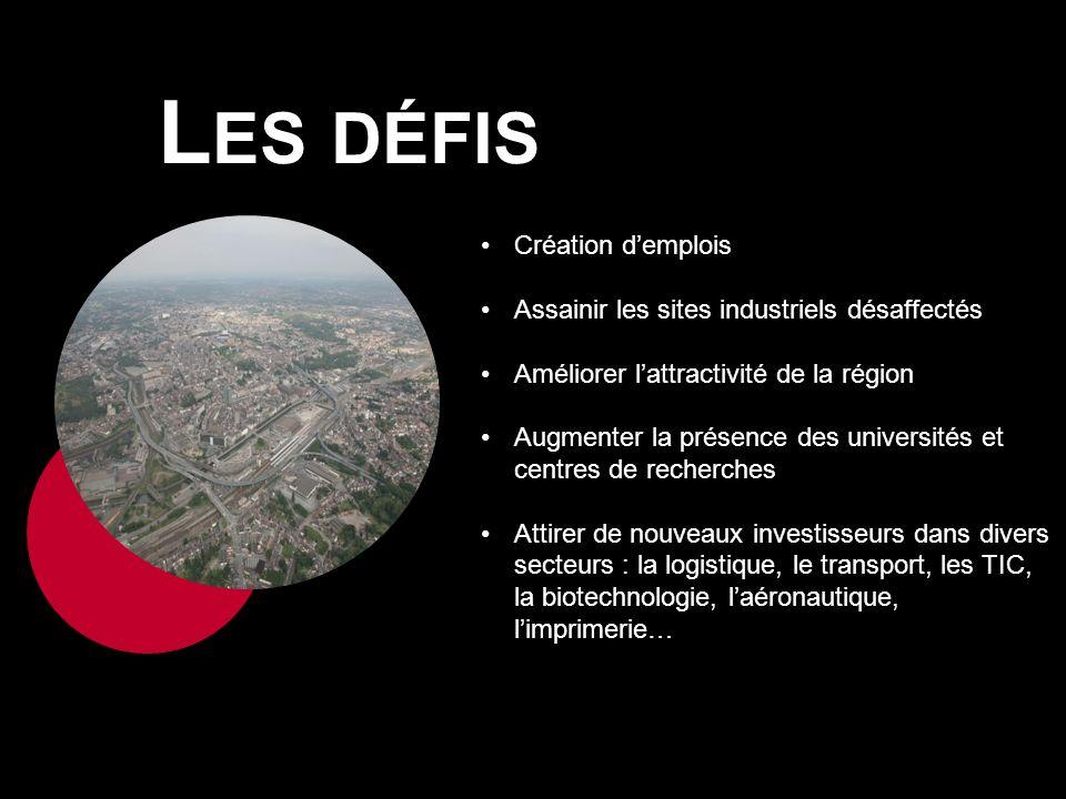L ES DÉFIS Création demplois Assainir les sites industriels désaffectés Améliorer lattractivité de la région Augmenter la présence des universités et centres de recherches Attirer de nouveaux investisseurs dans divers secteurs : la logistique, le transport, les TIC, la biotechnologie, laéronautique, limprimerie…