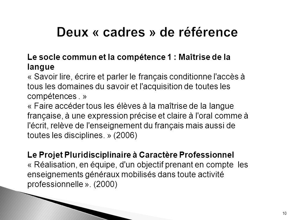 10 Deux « cadres » de référence Le socle commun et la compétence 1 : Maîtrise de la langue « Savoir lire, écrire et parler le français conditionne l'a