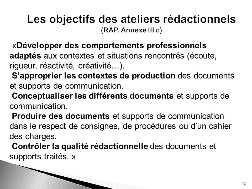 12 Les objectifs des ateliers rédactionnels (RAP. Annexe III c) «Développer des comportements professionnels adaptés aux contextes et situations renco