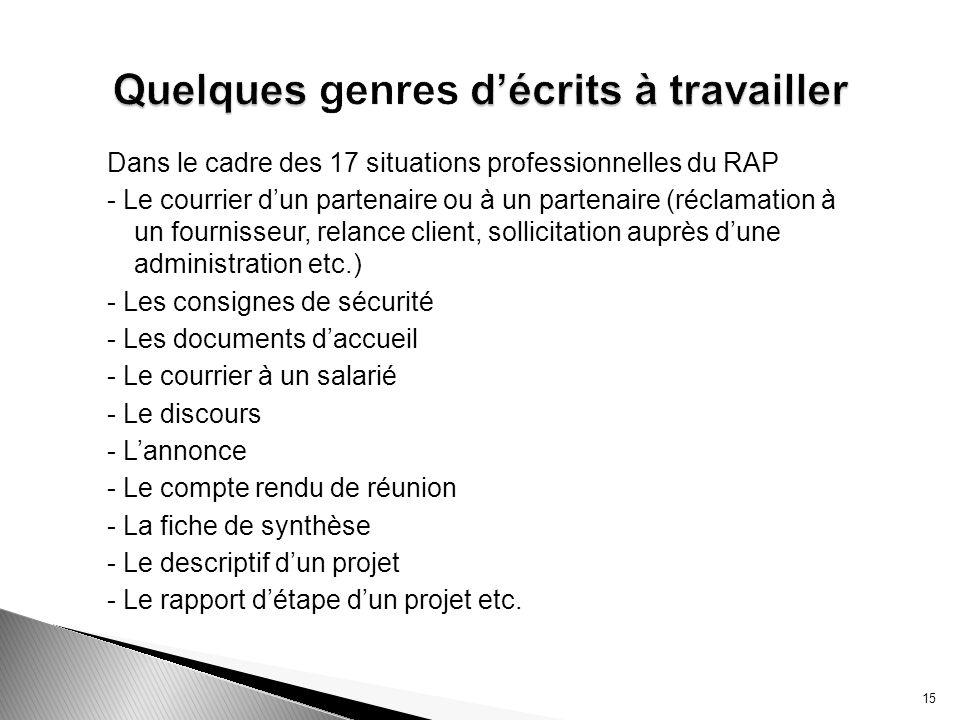 Dans le cadre des 17 situations professionnelles du RAP - Le courrier dun partenaire ou à un partenaire (réclamation à un fournisseur, relance client,
