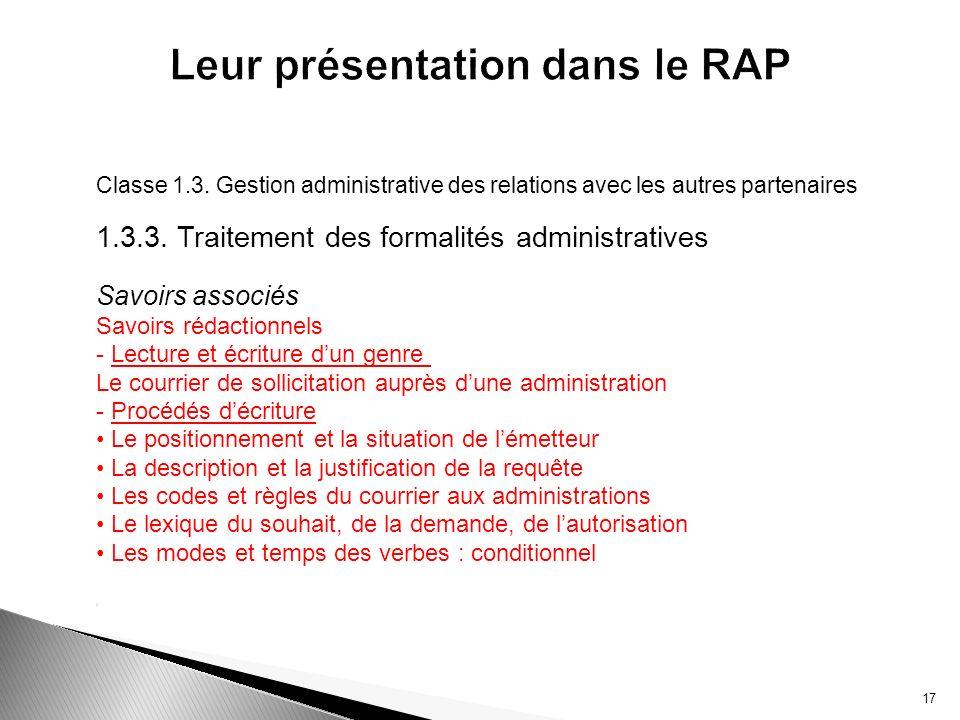 Classe 1.3. Gestion administrative des relations avec les autres partenaires 1.3.3. Traitement des formalités administratives Savoirs associés Savoirs