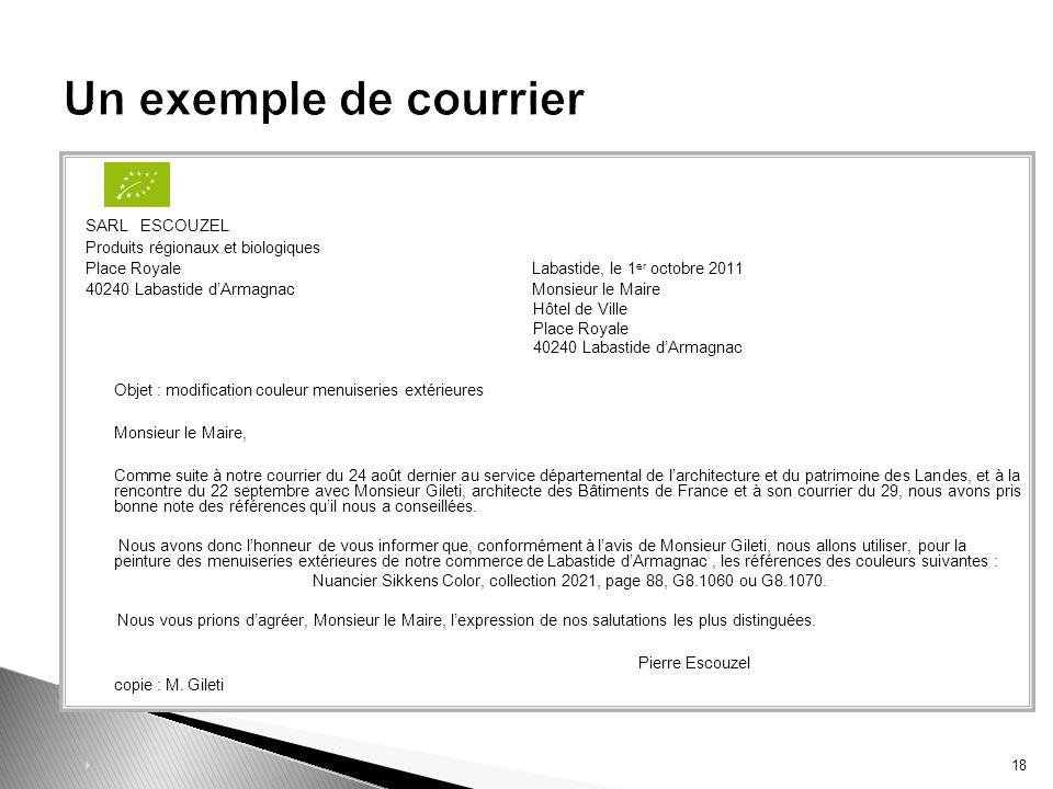 SARL ESCOUZEL Produits régionaux et biologiques Place Royale Labastide, le 1 er octobre 2011 40240 Labastide dArmagnac Monsieur le Maire Hôtel de Vill