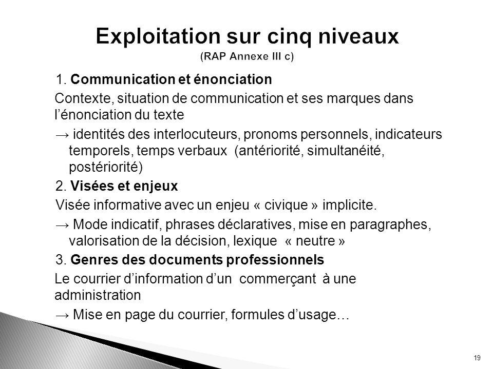 1. Communication et énonciation Contexte, situation de communication et ses marques dans lénonciation du texte identités des interlocuteurs, pronoms p