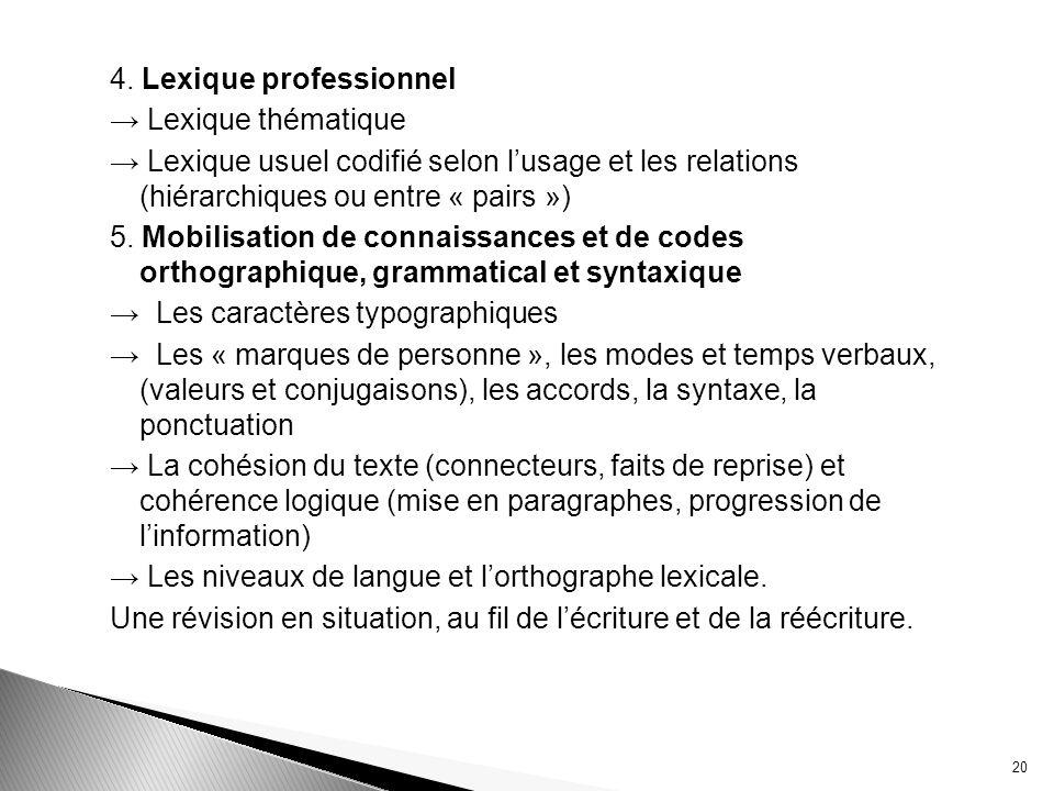 4. Lexique professionnel Lexique thématique Lexique usuel codifié selon lusage et les relations (hiérarchiques ou entre « pairs ») 5. Mobilisation de