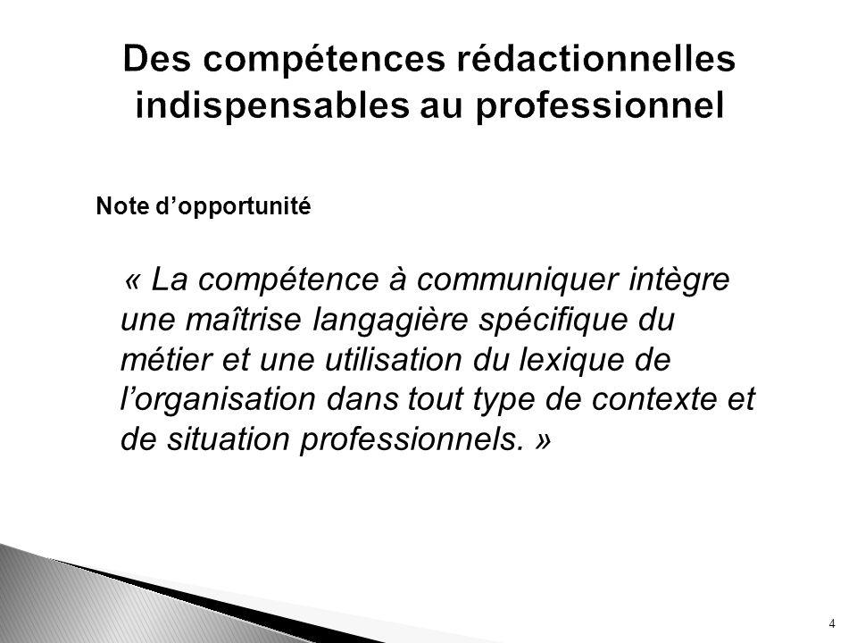 Note dopportunité « La compétence à communiquer intègre une maîtrise langagière spécifique du métier et une utilisation du lexique de lorganisation da