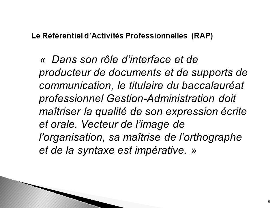 Le Référentiel dActivités Professionnelles (RAP) « Dans son rôle dinterface et de producteur de documents et de supports de communication, le titulair