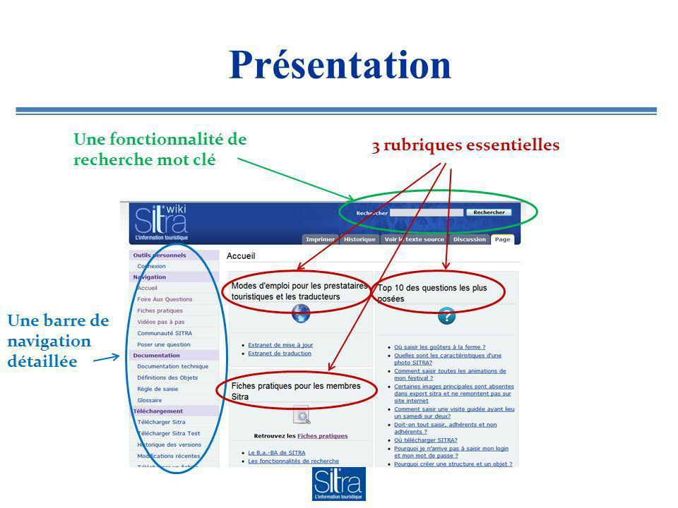 Présentation Une fonctionnalité de recherche mot clé 3 rubriques essentielles Une barre de navigation détaillée