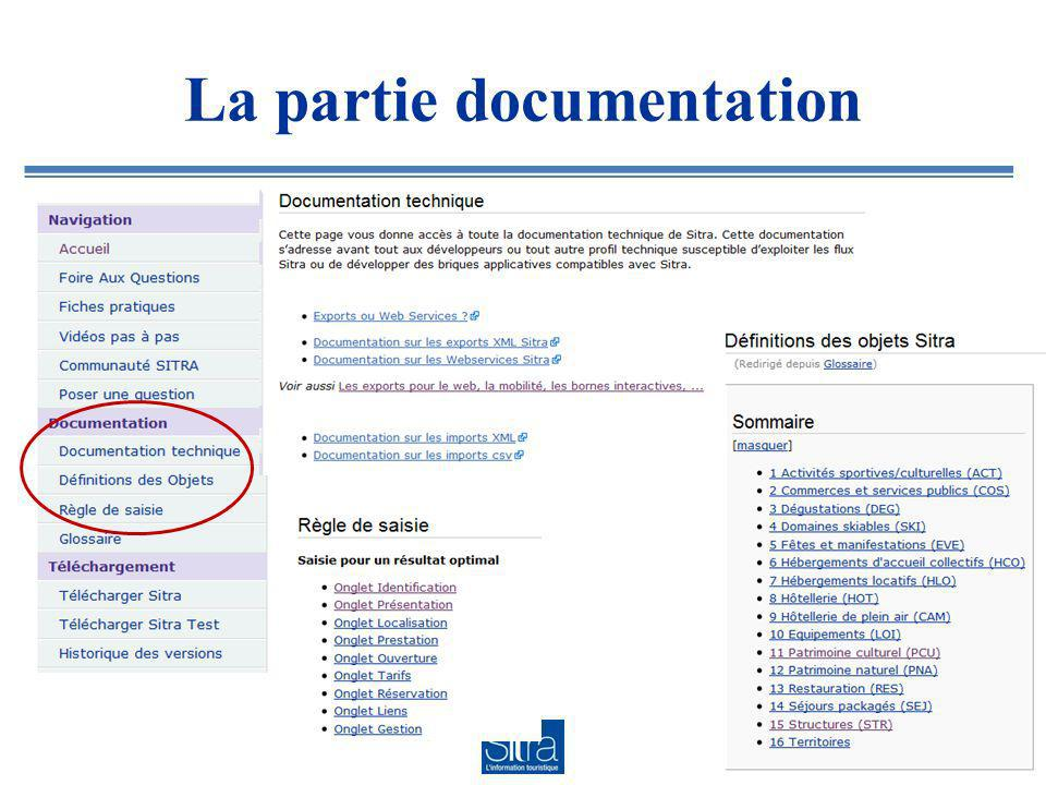 La partie documentation