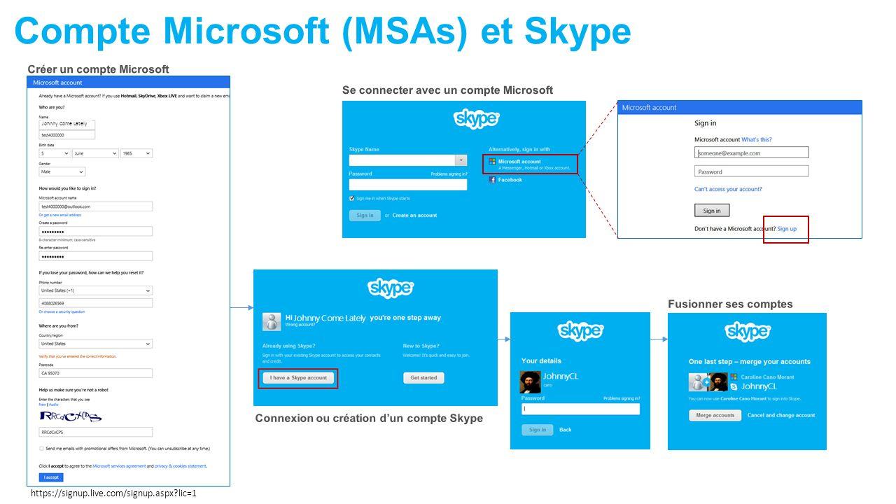 Compte Microsoft (MSAs) et Skype https://signup.live.com/signup.aspx?lic=1 Johnny Come Lately