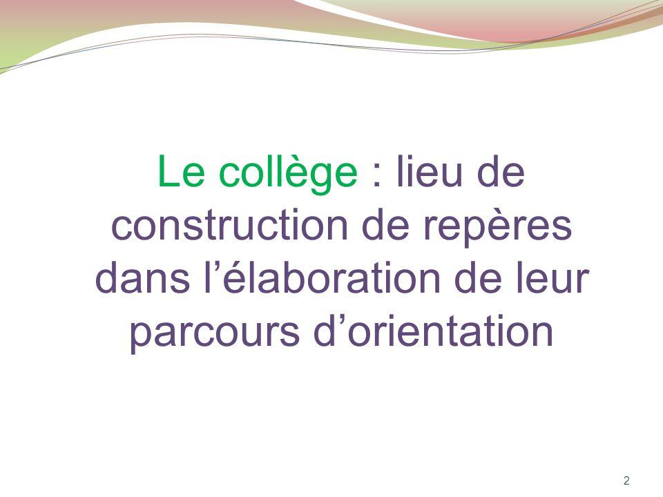 Le collège : lieu de construction de repères dans lélaboration de leur parcours dorientation 2
