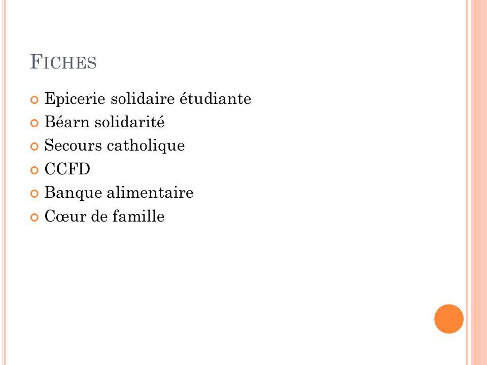 F ICHES Epicerie solidaire étudiante Béarn solidarité Secours catholique CCFD Banque alimentaire Cœur de famille