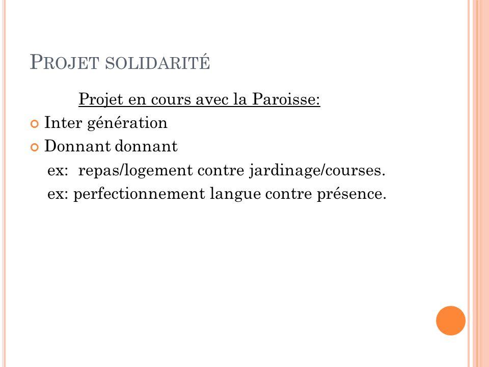 P ROJET SOLIDARITÉ Projet en cours avec la Paroisse: Inter génération Donnant donnant ex:repas/logement contre jardinage/courses.