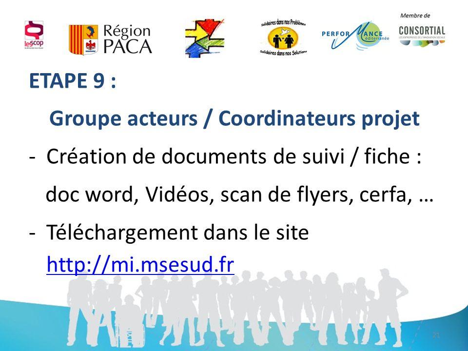 ETAPE 9 : Groupe acteurs / Coordinateurs projet -Création de documents de suivi / fiche : doc word, Vidéos, scan de flyers, cerfa, … -Téléchargement dans le site http://mi.msesud.fr http://mi.msesud.fr 21