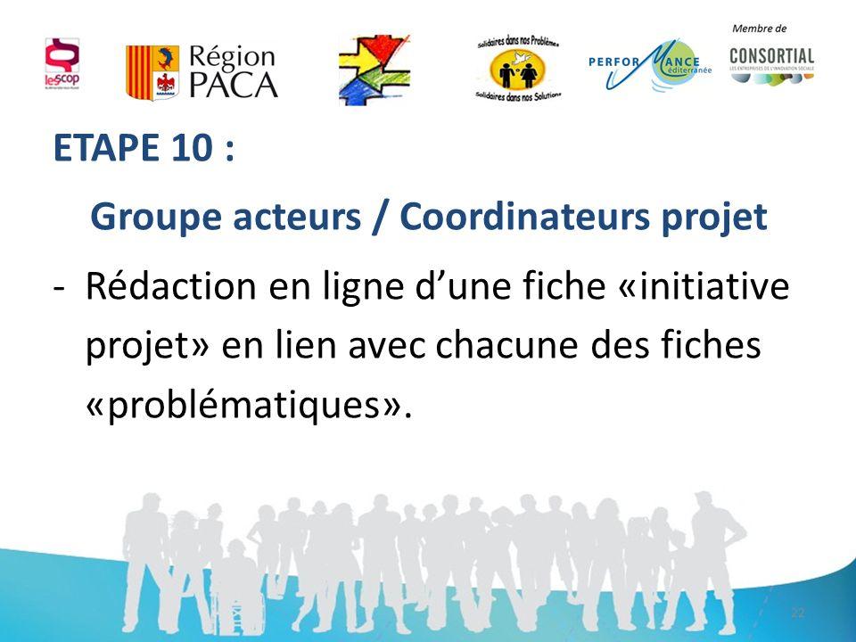 ETAPE 10 : Groupe acteurs / Coordinateurs projet -Rédaction en ligne dune fiche «initiative projet» en lien avec chacune des fiches «problématiques».
