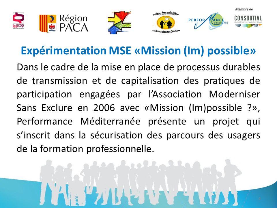 Démarche MSE «Plus quapprendre» Le projet «Solidaires dans nos problèmes, Solidaires dans nos solutions», titre choisi par les stagiaires, sintègre dans le projet dexpérimentation «plus quapprendre» dans laquelle sont engagés, le CR PACA, léquipe MSE et 6 Organismes de Formation.