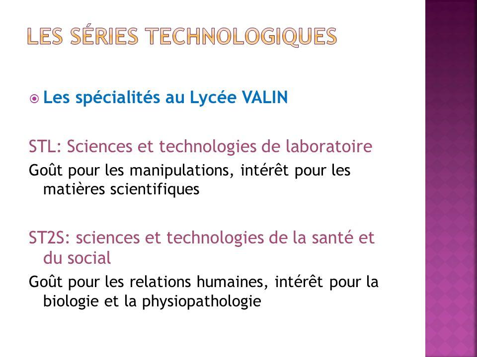 Les spécialités au Lycée VALIN STL: Sciences et technologies de laboratoire Goût pour les manipulations, intérêt pour les matières scientifiques ST2S: