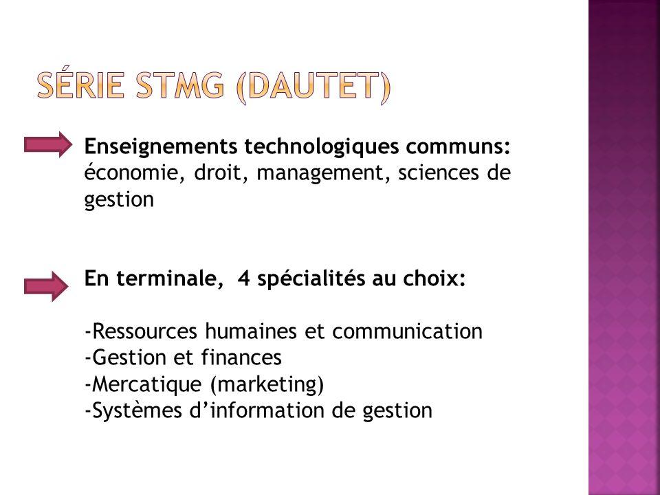 Enseignements technologiques communs: économie, droit, management, sciences de gestion En terminale, 4 spécialités au choix: -Ressources humaines et c