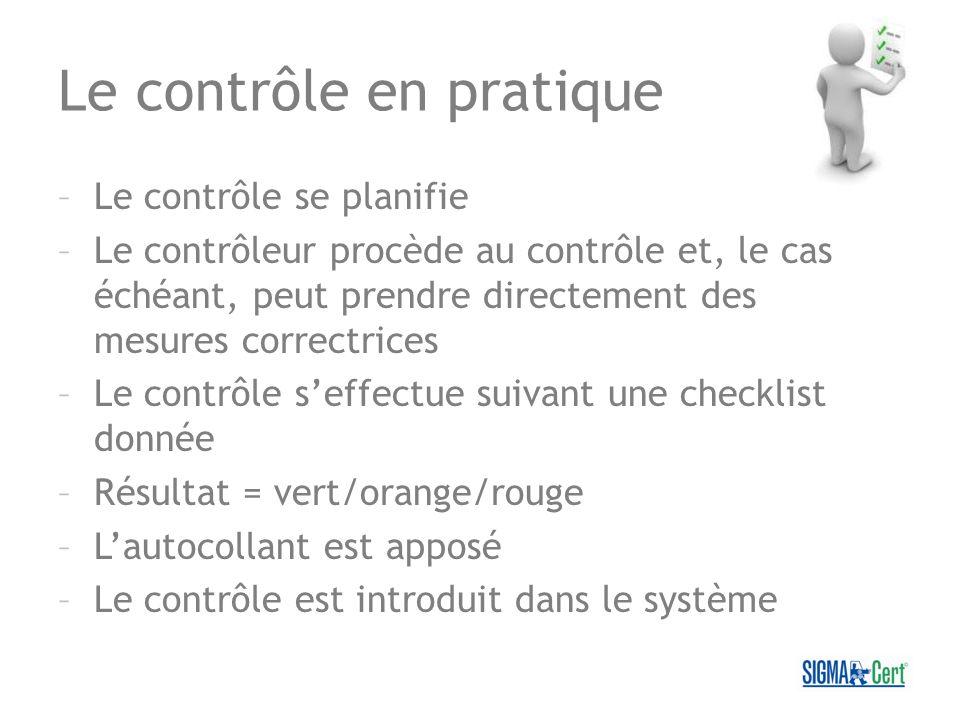 Le contrôle en pratique –Le contrôle se planifie –Le contrôleur procède au contrôle et, le cas échéant, peut prendre directement des mesures correctri