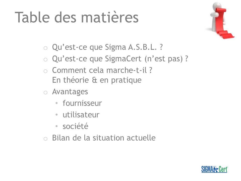 Table des matières o Quest-ce que Sigma A.S.B.L. ? o Quest-ce que SigmaCert (nest pas) ? o Comment cela marche-t-il ? En théorie & en pratique o Avant