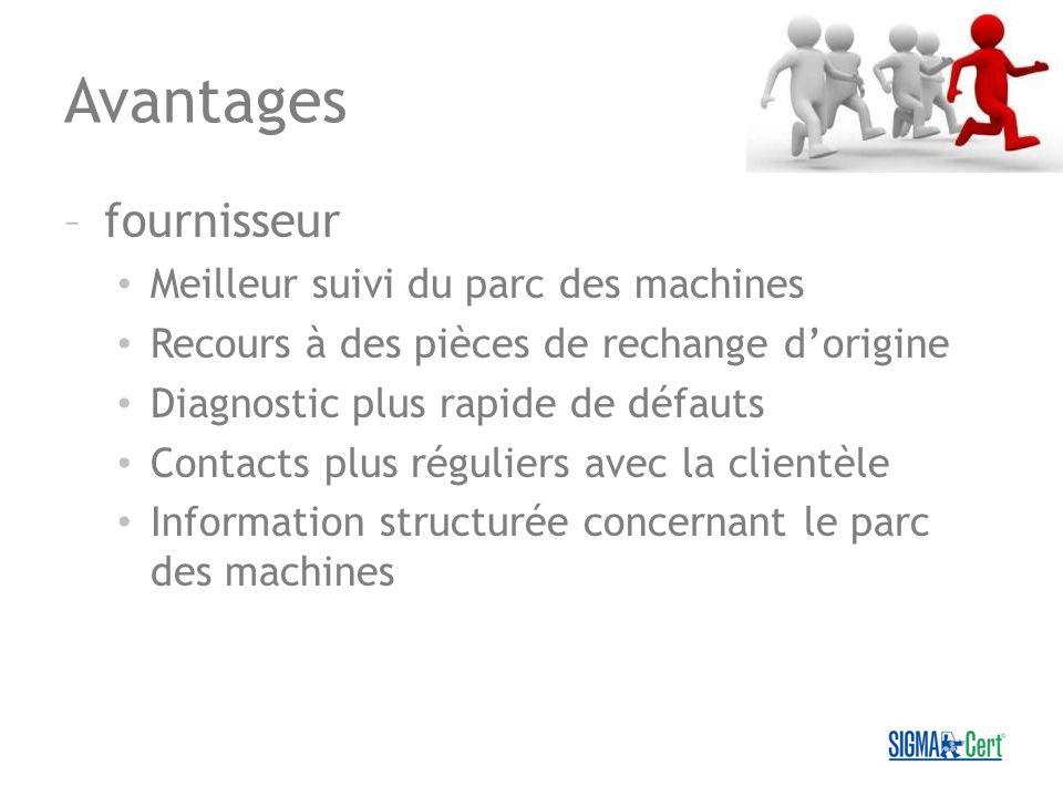 Avantages –fournisseur Meilleur suivi du parc des machines Recours à des pièces de rechange dorigine Diagnostic plus rapide de défauts Contacts plus r