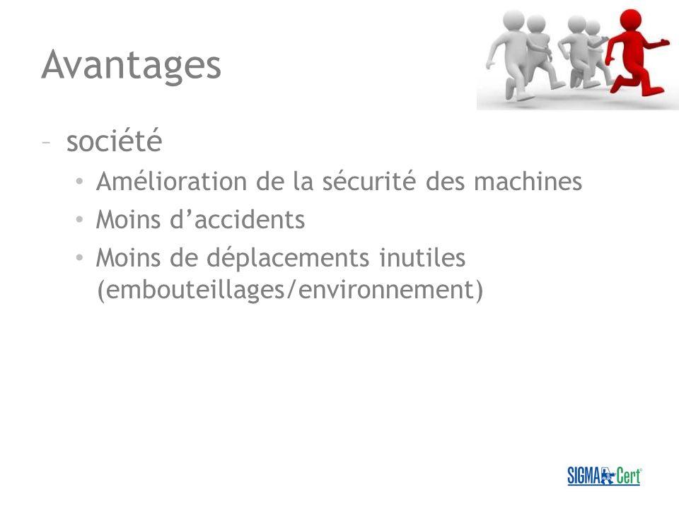 Avantages –société Amélioration de la sécurité des machines Moins daccidents Moins de déplacements inutiles (embouteillages/environnement)