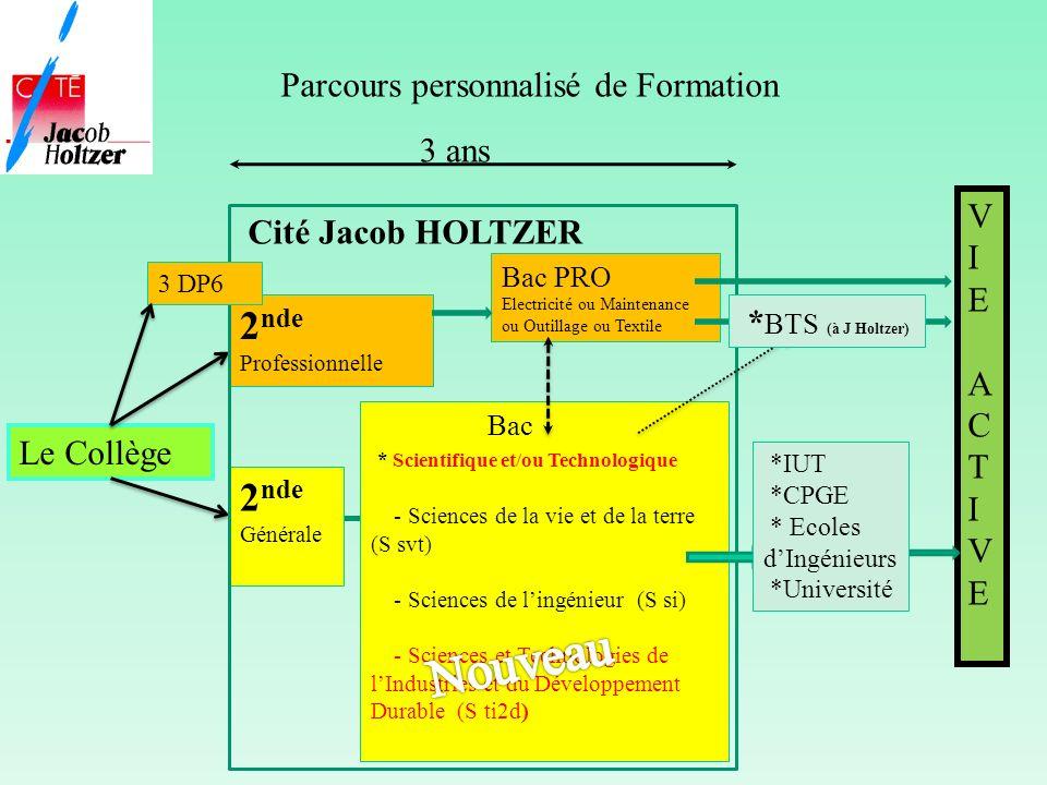 Parcours personnalisé de Formation Le Collège Cité Jacob HOLTZER VIEACTIVEVIEACTIVE 2 nde Générale 2 nde Professionnelle Bac PRO Electricité ou Mainte