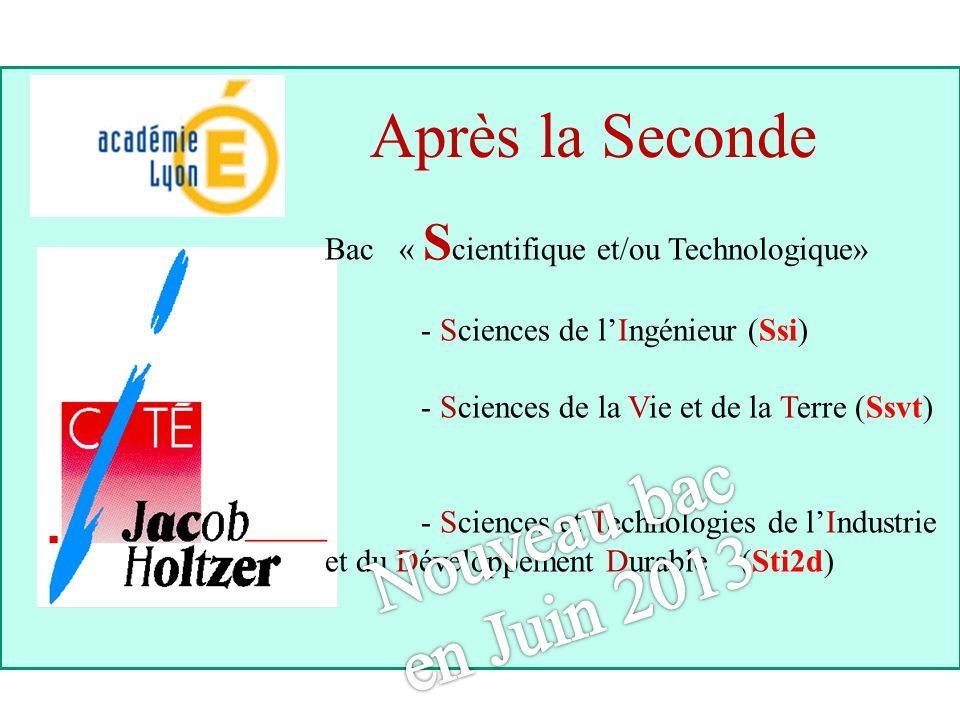 Après la Seconde Bac « S cientifique et/ou Technologique» - Sciences de lIngénieur (Ssi) - Sciences de la Vie et de la Terre (Ssvt) - Sciences et Tech