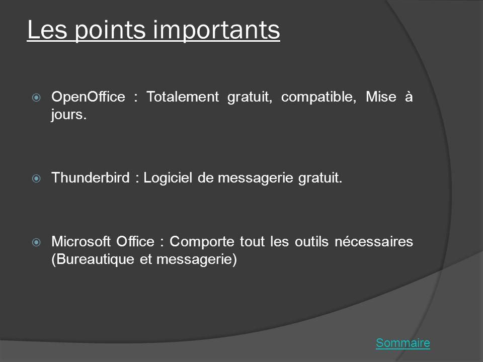 Les points importants OpenOffice : Totalement gratuit, compatible, Mise à jours. Thunderbird : Logiciel de messagerie gratuit. Microsoft Office : Comp