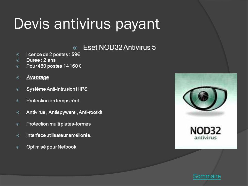 Devis antivirus payant Eset NOD32 Antivirus 5 licence de 2 postes : 59 Durée : 2 ans Pour 480 postes 14 160 Avantage Système Anti-Intrusion HIPS Prote