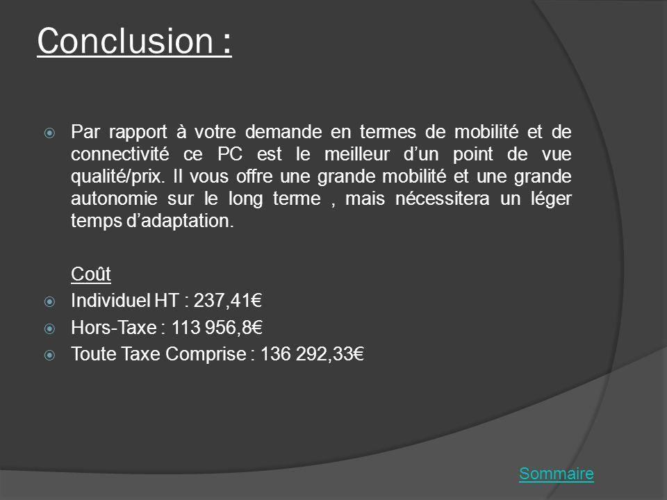 Conclusion : Par rapport à votre demande en termes de mobilité et de connectivité ce PC est le meilleur dun point de vue qualité/prix. Il vous offre u