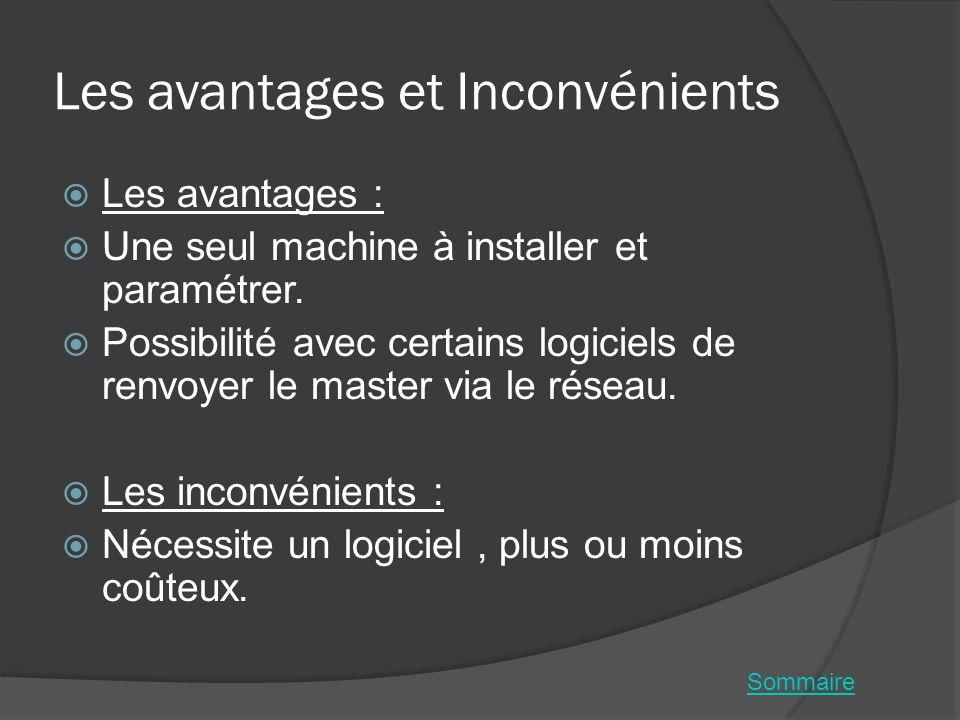 Les avantages et Inconvénients Les avantages : Une seul machine à installer et paramétrer. Possibilité avec certains logiciels de renvoyer le master v
