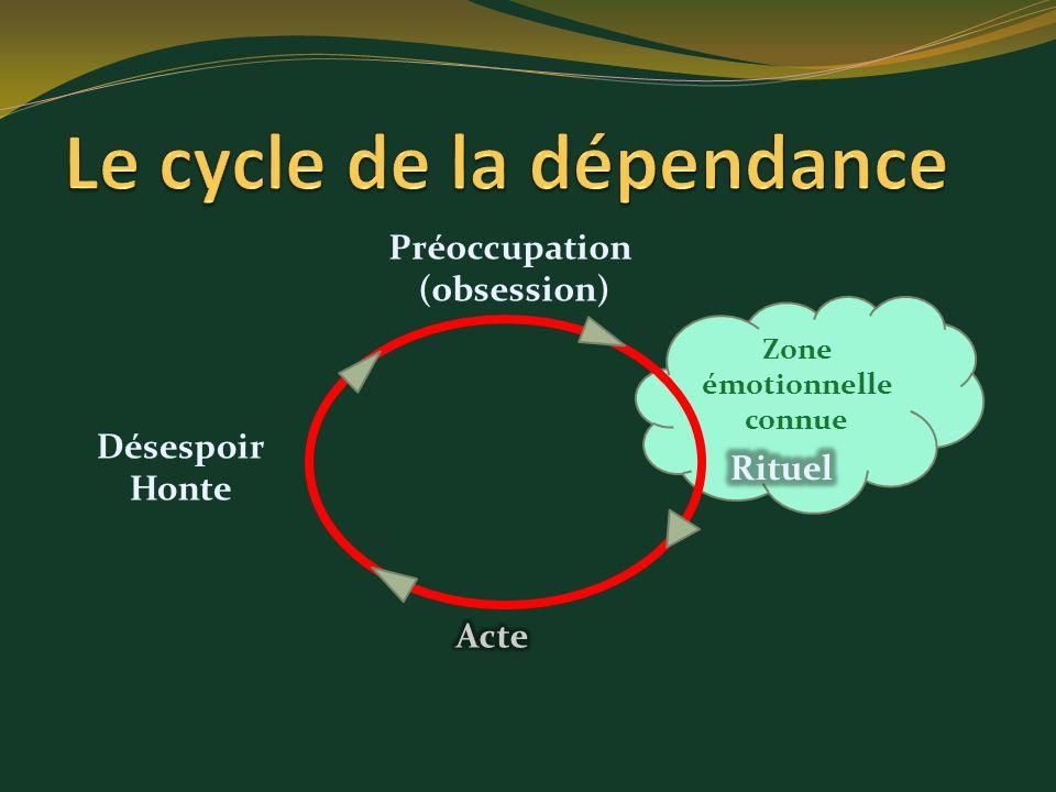 Zone émotionnelle connue Préoccupation (obsession) Désespoir Honte