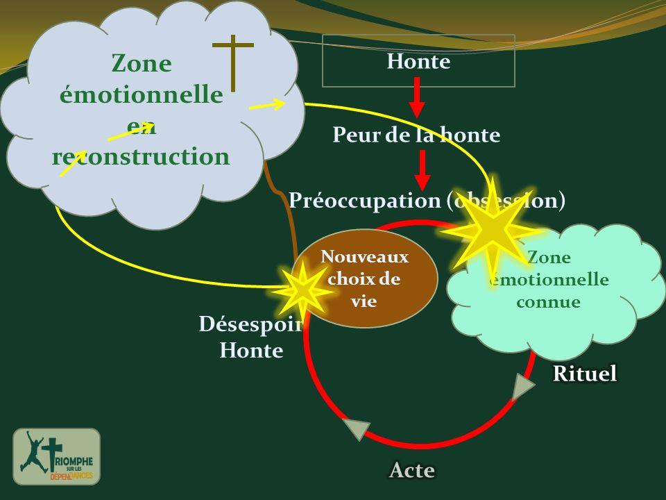 Peur de la honte Honte Préoccupation (obsession) Désespoir Honte Zone émotionnelle connue Nouveaux choix de vie Zone émotionnelle en reconstruction