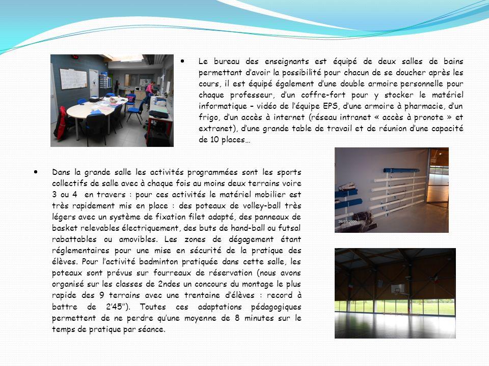 Le bureau des enseignants est équipé de deux salles de bains permettant davoir la possibilité pour chacun de se doucher après les cours, il est équipé