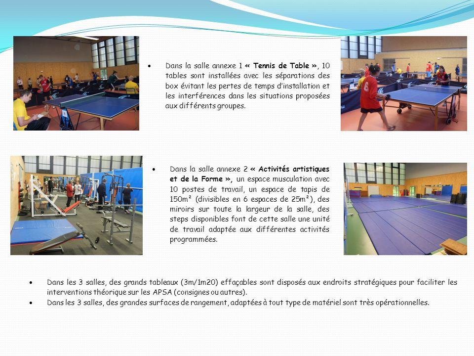 Dans la salle annexe 1 « Tennis de Table », 10 tables sont installées avec les séparations des box évitant les pertes de temps dinstallation et les interférences dans les situations proposées aux différents groupes.