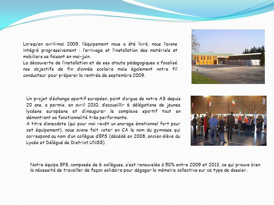 Un projet déchange sportif européen, point dorgue de notre AS depuis 20 ans, a permis, en avril 2010, daccueillir 6 délégations de jeunes lycéens européens et dinaugurer le complexe sportif tout en démontrant sa fonctionnalité très performante.