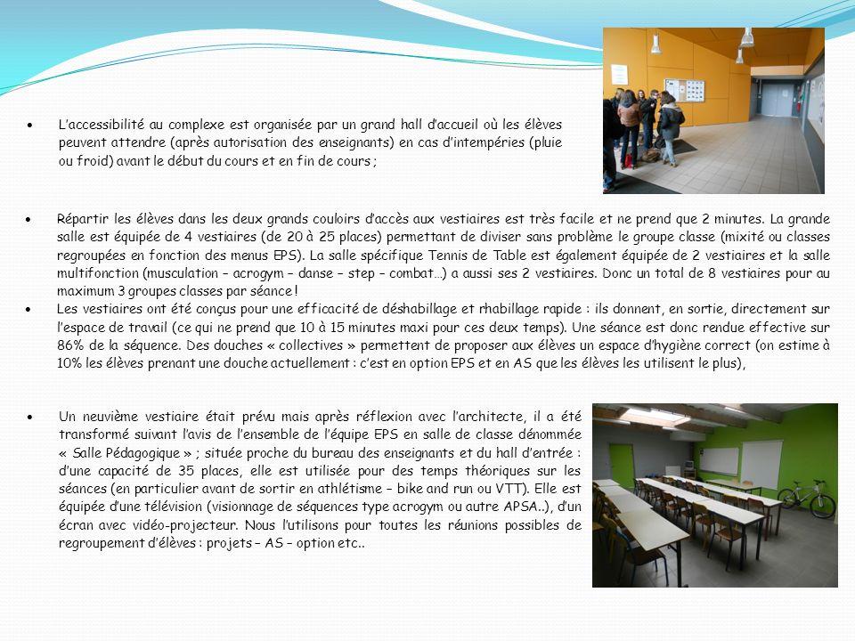 Le bureau des enseignants est équipé de deux salles de bains permettant davoir la possibilité pour chacun de se doucher après les cours, il est équipé également dune double armoire personnelle pour chaque professeur, dun coffre-fort pour y stocker le matériel informatique – vidéo de léquipe EPS, dune armoire à pharmacie, dun frigo, dun accès à internet (réseau intranet « accès à pronote » et extranet), dune grande table de travail et de réunion dune capacité de 10 places… Dans la grande salle les activités programmées sont les sports collectifs de salle avec à chaque fois au moins deux terrains voire 3 ou 4 en travers : pour ces activités le matériel mobilier est très rapidement mis en place : des poteaux de volley-ball très légers avec un système de fixation filet adapté, des panneaux de basket relevables électriquement, des buts de hand-ball ou futsal rabattables ou amovibles.