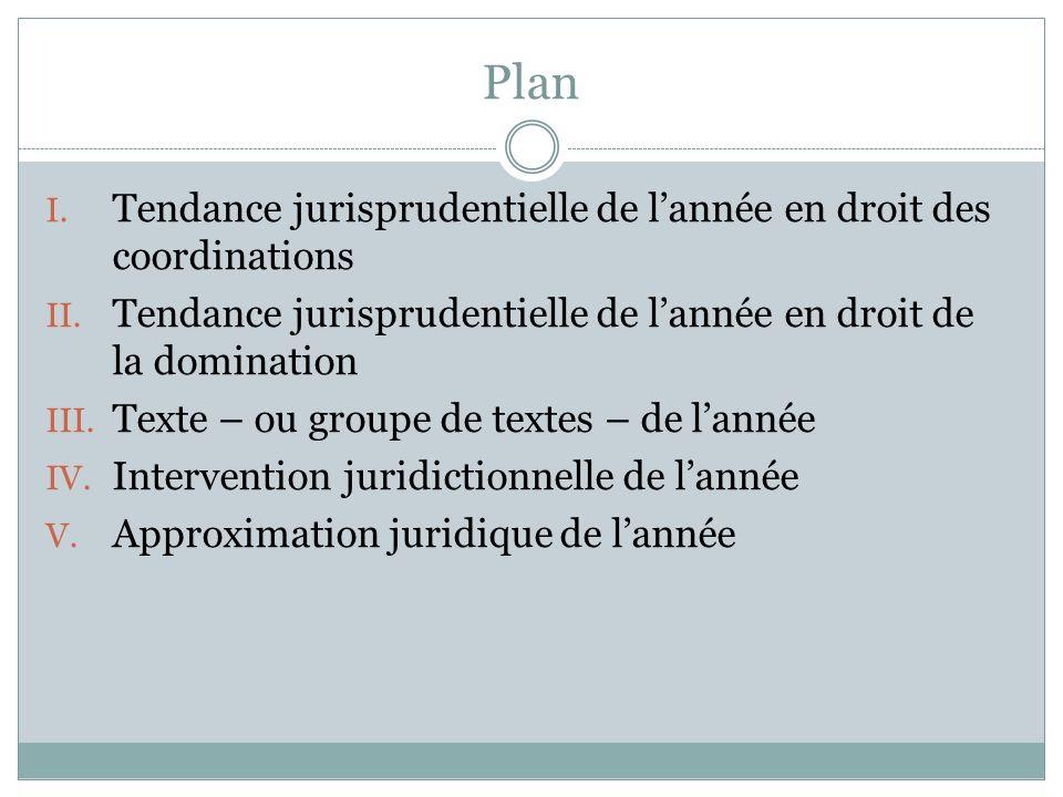 Plan I. Tendance jurisprudentielle de lannée en droit des coordinations II. Tendance jurisprudentielle de lannée en droit de la domination III. Texte
