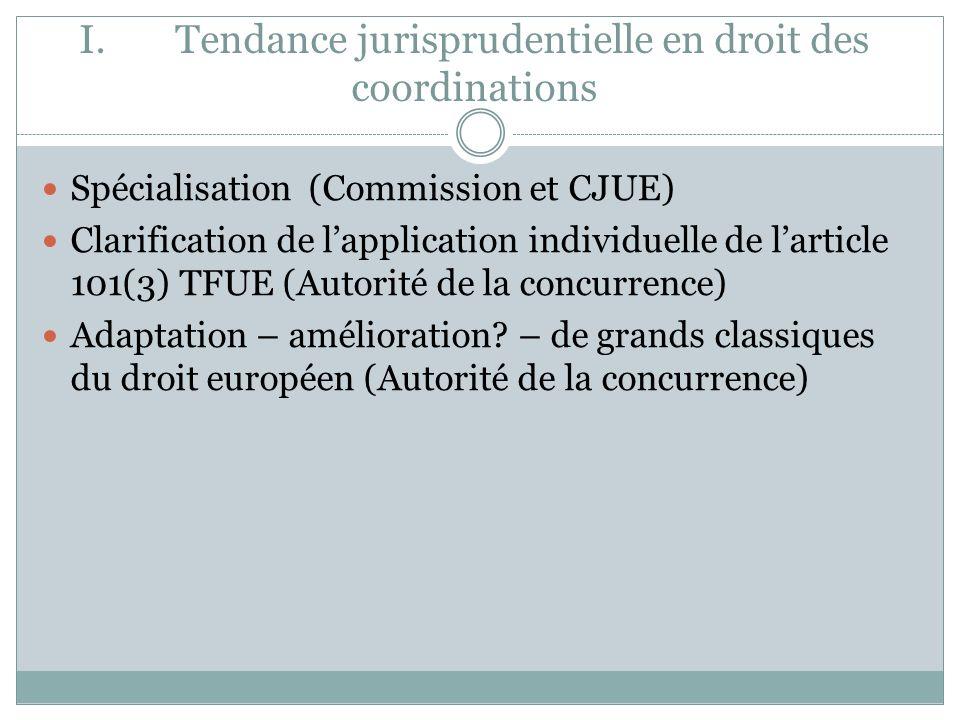 I.Tendance jurisprudentielle en droit des coordinations Spécialisation (Commission et CJUE) Clarification de lapplication individuelle de larticle 101