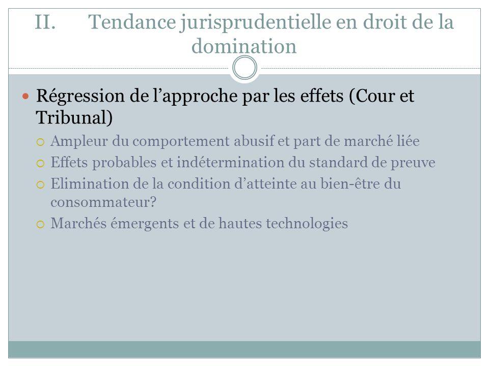 II. Tendance jurisprudentielle en droit de la domination Régression de lapproche par les effets (Cour et Tribunal) Ampleur du comportement abusif et p