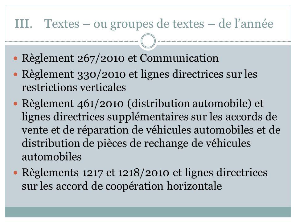 III.Textes – ou groupes de textes – de lannée Règlement 267/2010 et Communication Règlement 330/2010 et lignes directrices sur les restrictions vertic