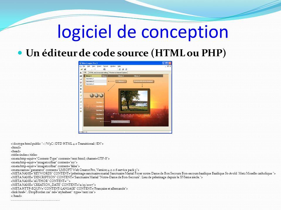 logiciel de conception Un éditeur de code source (HTML ou PHP) index ……………………………………………………….