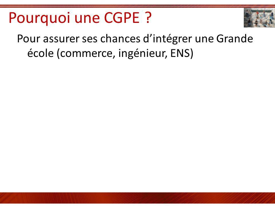 Pourquoi une CGPE ? Pour assurer ses chances dintégrer une Grande école (commerce, ingénieur, ENS)