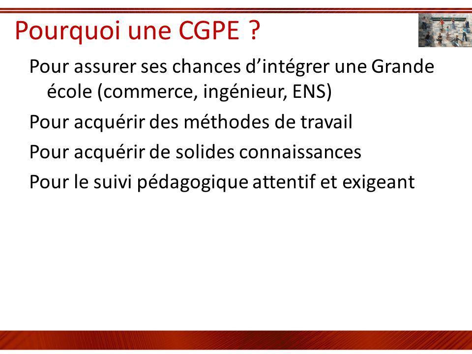 Pourquoi une CGPE ? Pour assurer ses chances dintégrer une Grande école (commerce, ingénieur, ENS) Pour acquérir des méthodes de travail Pour acquérir
