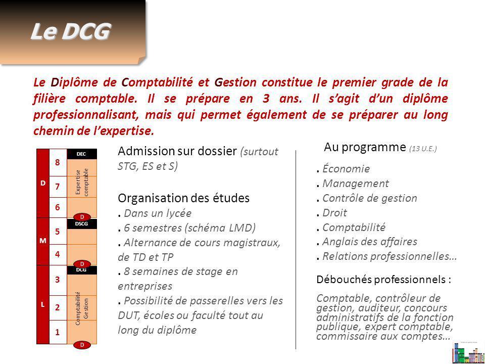 Le DCG Le Diplôme de Comptabilité et Gestion constitue le premier grade de la filière comptable. Il se prépare en 3 ans. Il sagit dun diplôme professi