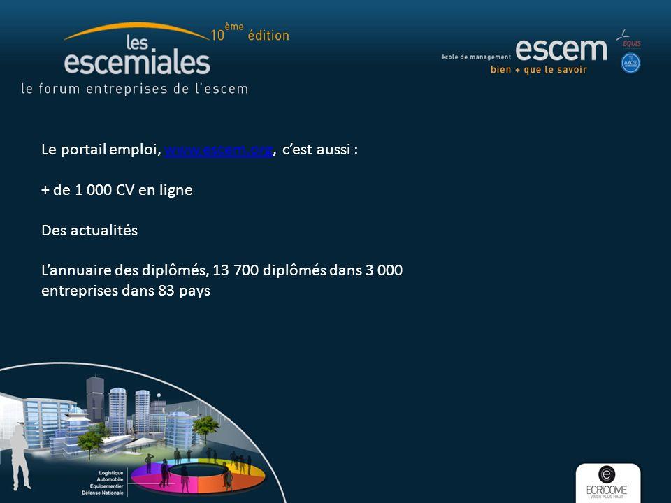 Le portail emploi, www.escem.org, cest aussi :www.escem.org + de 1 000 CV en ligne Des actualités Lannuaire des diplômés, 13 700 diplômés dans 3 000 entreprises dans 83 pays