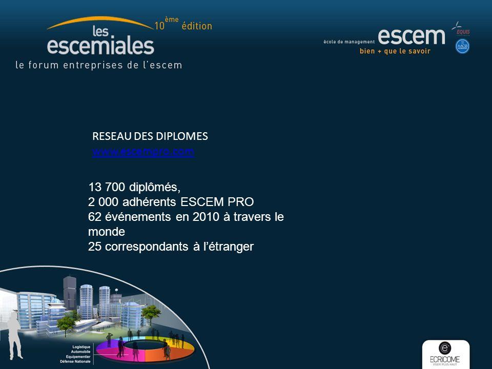 RESEAU DES DIPLOMES www.escempro.com www.escempro.com 13 700 diplômés, 2 000 adhérents ESCEM PRO 62 événements en 2010 à travers le monde 25 correspon